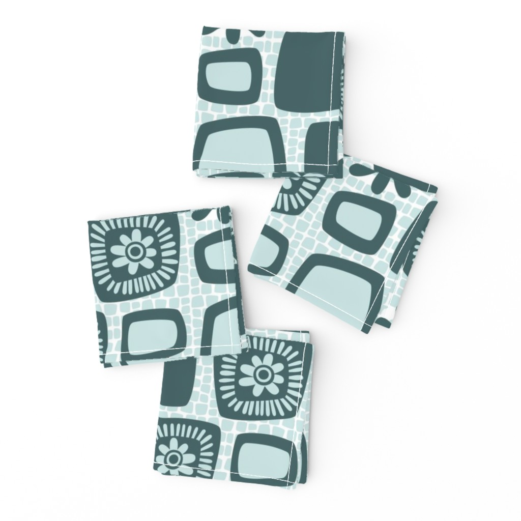 Frizzle Cocktail Napkins featuring Scandi daisy blocks by dustydiscoball