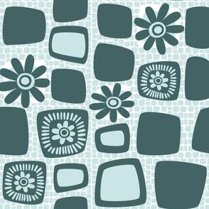 Scandi daisy blocks - mint and pine