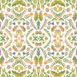 Folk Art Flowers in Green Multi