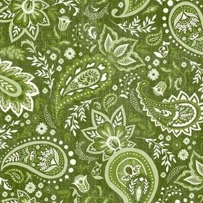 Moss Green Soma Paisley - Textured