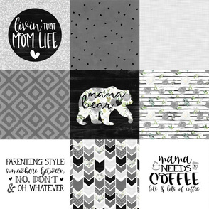 MomLife//Coffee//Greys - Wholecloth Cheater Quilt
