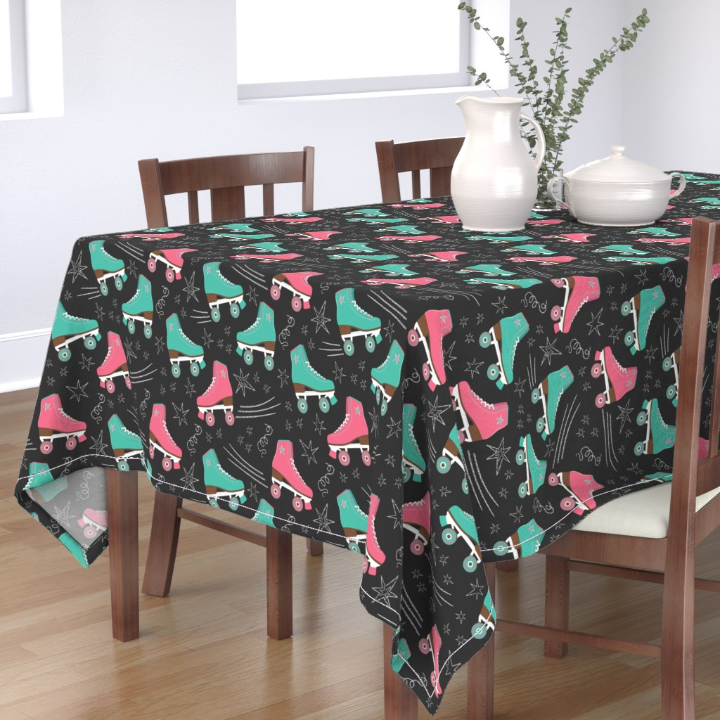 Bantam Rectangular Tablecloth featuring Retro Roller Rink 70s Nostalgia pink & teal & white chalk on black Wallpaper Fabric by danadudesign