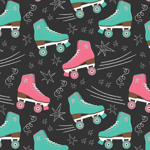 Retro Roller Rink 70s Nostalgia pink & teal & white chalk on black Wallpaper Fabric