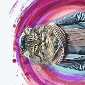 Style Boy.   Watercolor Animal Portrait of  Cat