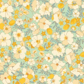 Floral Illustrated 70s Vintage-minty