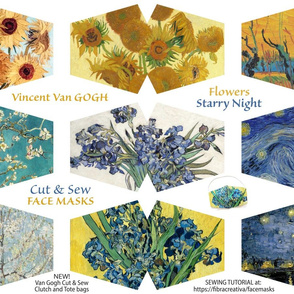 Van Gogh Face Masks - Starry Night Sunflowers Irises