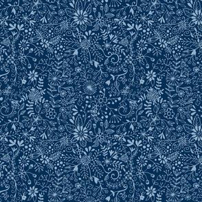Floral Doodle - Classic Blue Dark