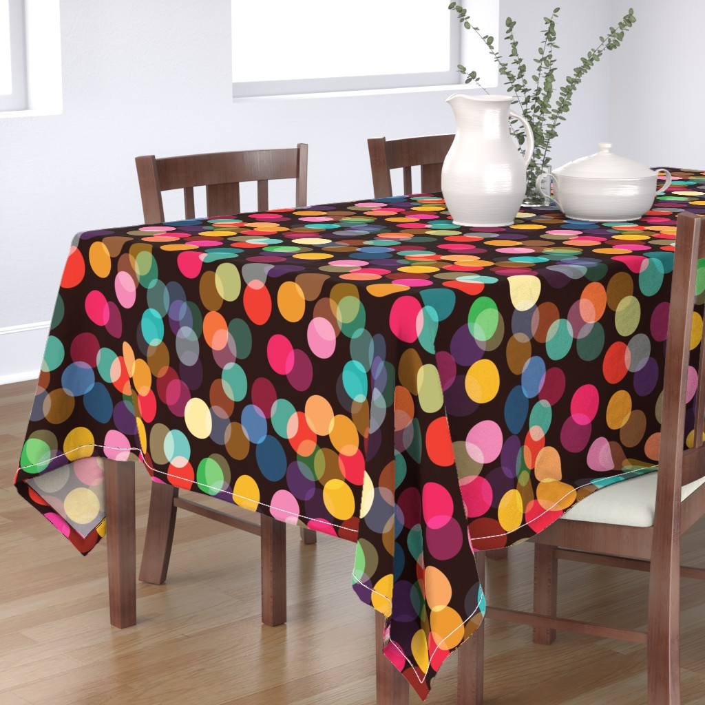 Bantam Rectangular Tablecloth featuring Rainbow Bokeh Lights - large by ceciliamok