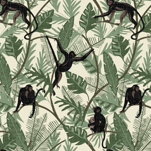 Monkeys - No Flowers - Cream - Medium - Linen Texture