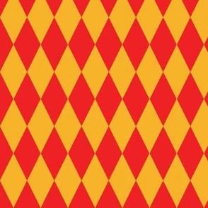 basic diamonds | yellow on red