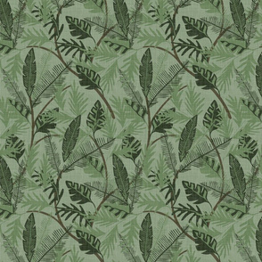 Tropical Foliage - Dark Green - Small - Linen Texture