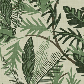 Tropical Foliage - Light Green - Extra Large - Linen Texture