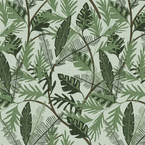 Tropical Foliage - Aqua - Medium - Linen Texture