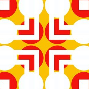White Red Retro Dots With Yellow