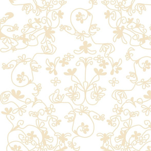 lion damask in peach on white