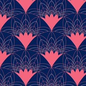 Art Deco Fans in Pink and White on Navy - Small