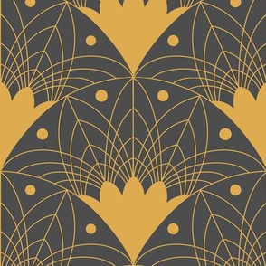 Art Deco Fans in Gold and Charcoal Medium