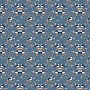 Puffins on Blue