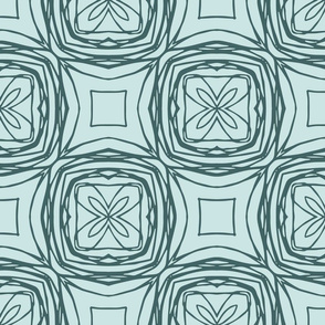 Outline floral tiles-Pine and Mint
