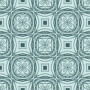 Outline Floral Tile-Pine and Mint