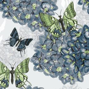 Butterflies & Hydrangeas - blue