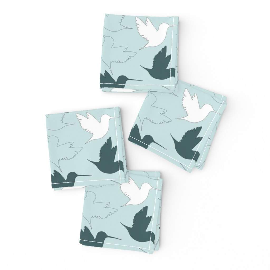 Frizzle Cocktail Napkins featuring hummingbird outline by flossiesgrand