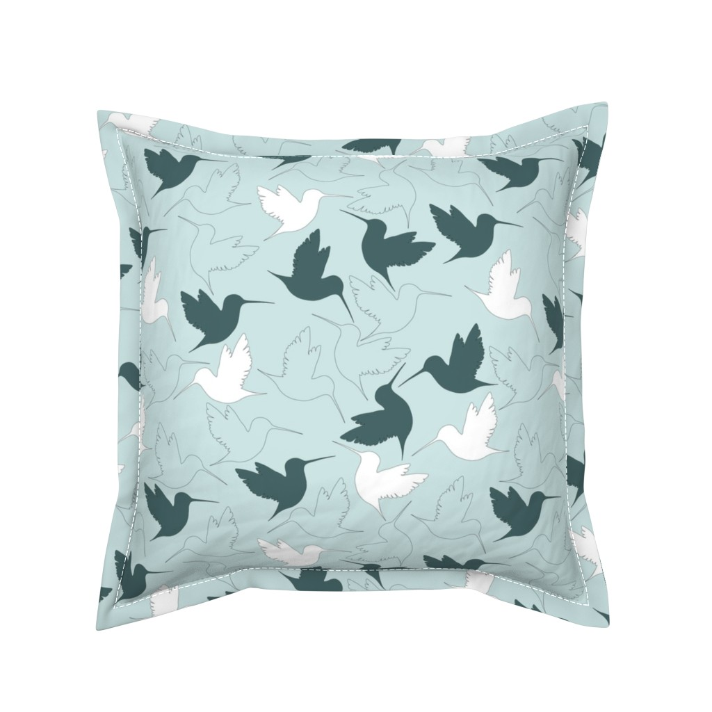 Serama Throw Pillow featuring hummingbird outline by flossiesgrand