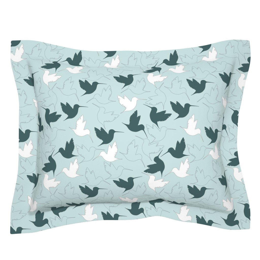 Sebright Pillow Sham featuring hummingbird outline by flossiesgrand