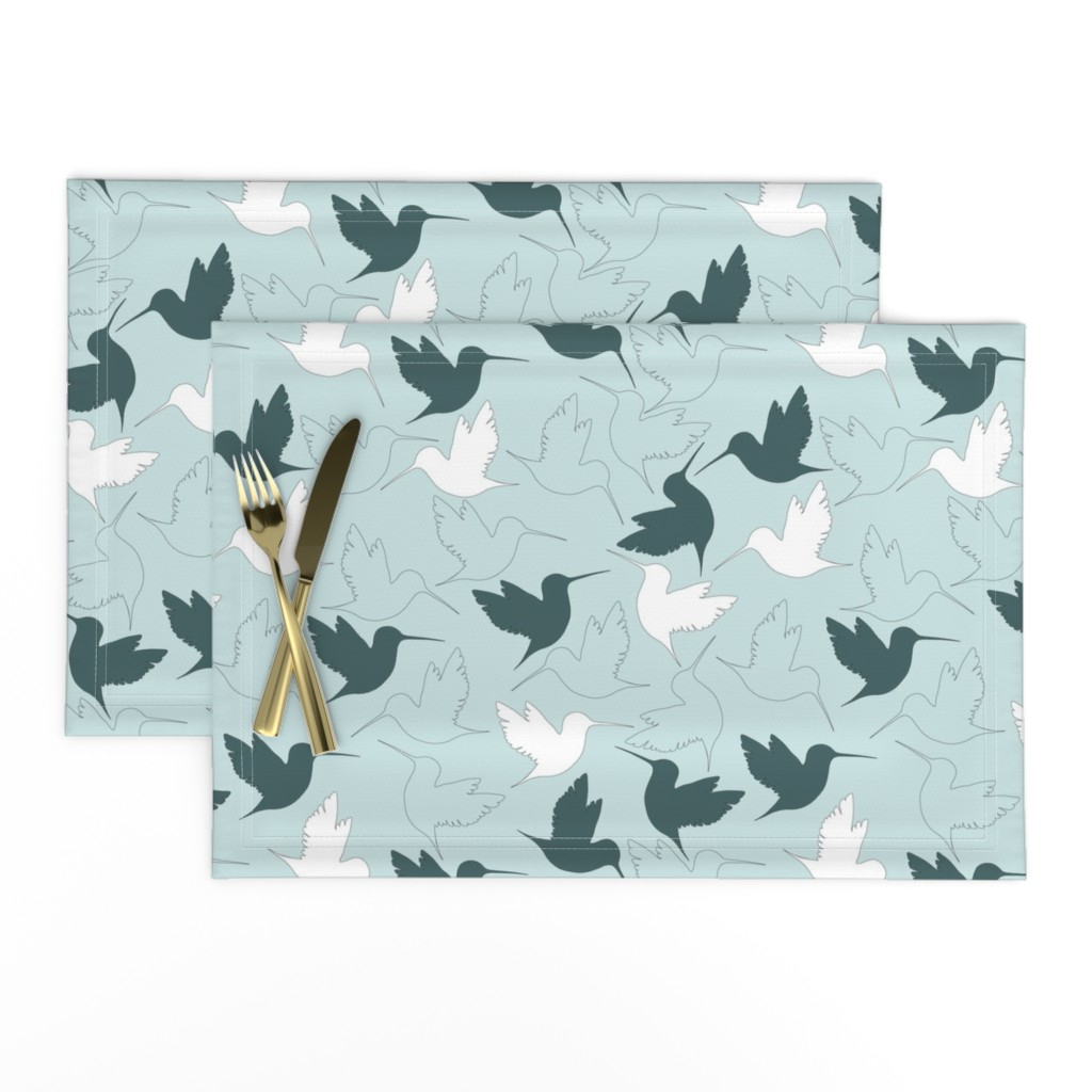 Lamona Cloth Placemats featuring hummingbird outline by flossiesgrand
