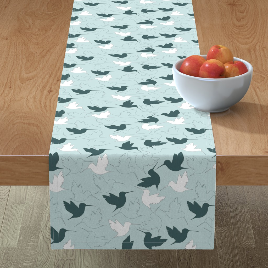 Minorca Table Runner featuring hummingbird outline by flossiesgrand