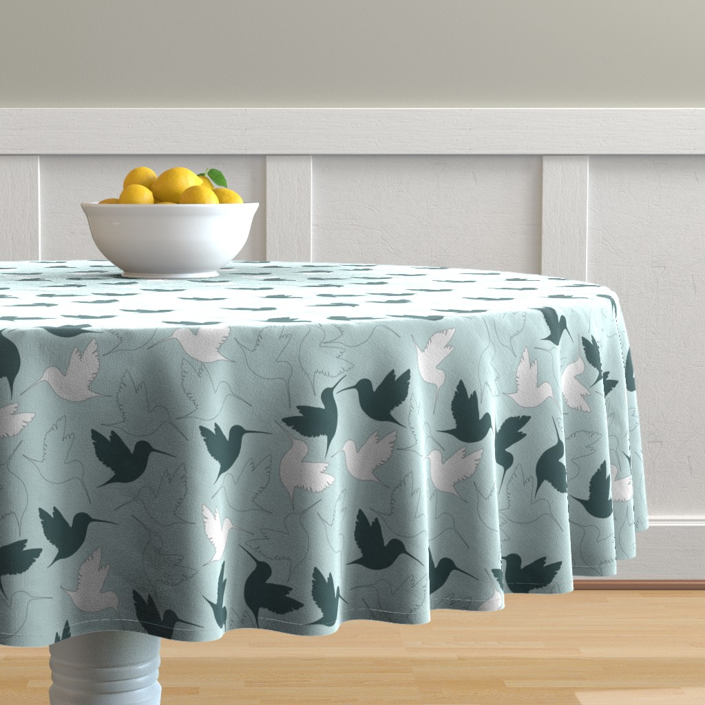 Malay Round Tablecloth featuring hummingbird outline by flossiesgrand