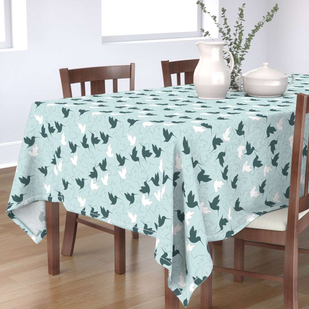 Bantam Rectangular Tablecloth featuring hummingbird outline by flossiesgrand