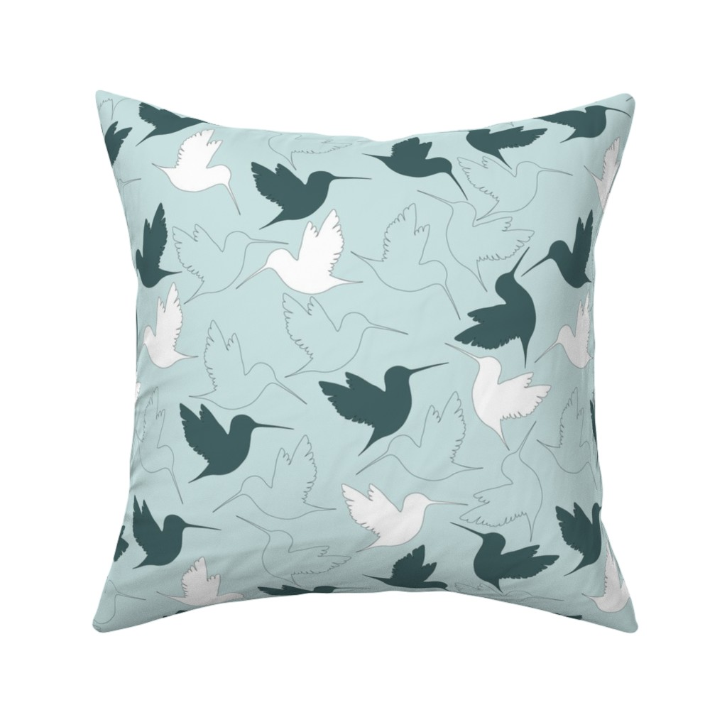 Catalan Throw Pillow featuring hummingbird outline by flossiesgrand
