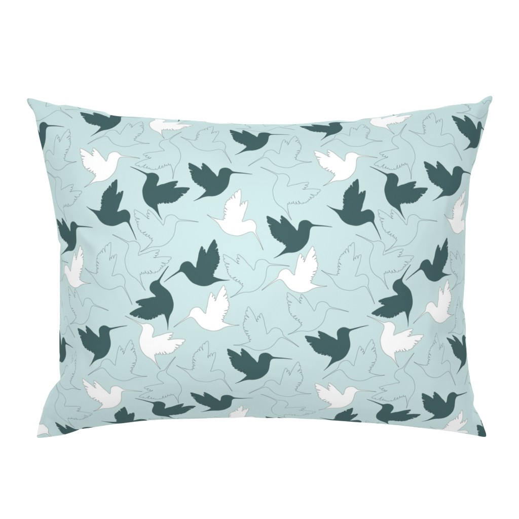 Campine Pillow Sham featuring hummingbird outline by flossiesgrand