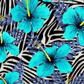 ZEBRA STRIPES SILVER  TEAL BLUE 24