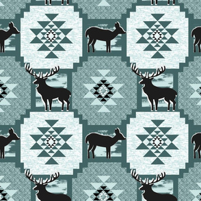 textured kilim with deer pine and mint
