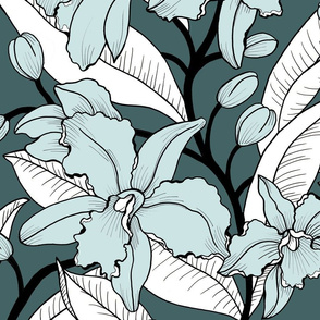 Jumbo green orchid -limited palette