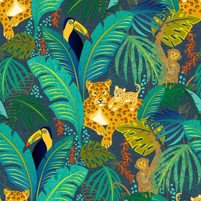 Leopards, toucan and monkeys in the jungle - blue