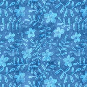 Faux Floral Pattern - Classic Blue