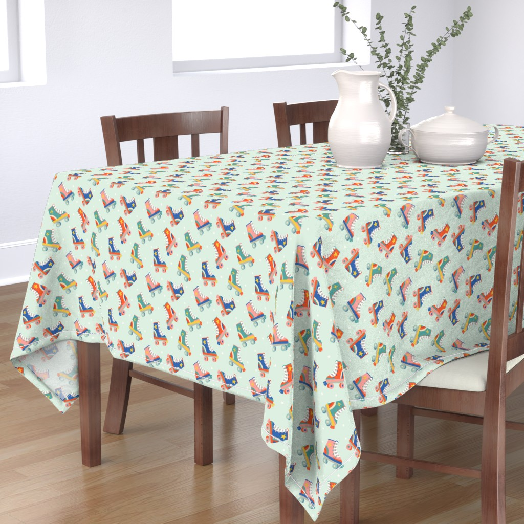 Bantam Rectangular Tablecloth featuring  Roller Skate Nostalgia by morecandyshop