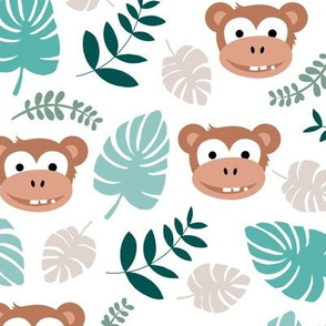 Cute little monkey jungle monstera palm leaves summer print boys LARGE