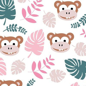 Cute little monkey jungle monstera palm leaves summer print girls LARGE