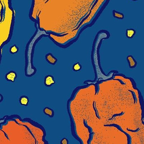 Orange and Yellow Hot Peppers on Classic Blue - Large