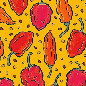 Red and Orange Hot Peppers on Yellow - Medium