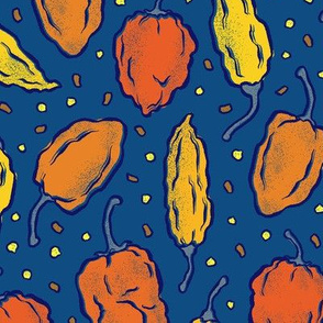 Hot Pepper Ditsy on Classic Blue - Medium