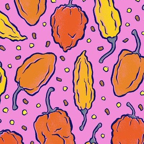 Spicy Hot Peppers on Pink - Medium