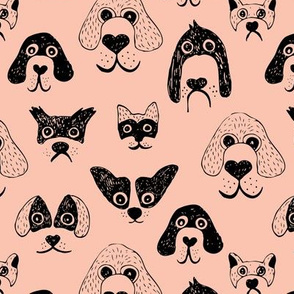 Little pups and dogs friends pet lovers design peach black