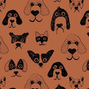 Little pups and dogs friends pet lovers design rust copper black