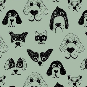 Little pups and dogs friends pet lovers design sage eucalyptus green