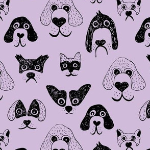 Little pups and dogs friends pet lovers design lilac lavender purple